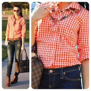 J Crew Perfect Shirt Size 4 Gingham Orange